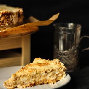 Насыпной пирог с яблоками и ореховой мукой